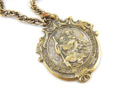 Vintage Ornate French Saint Christopher Catholic Medal Necklace - Archiconfrerie Universelle de S. Christopher by LuxMeaChristus