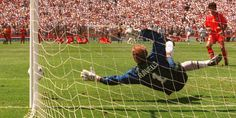 Sweden 2 Romania 2 (5-4 pens) in 1994 in San Francisco. Thomas Ravelli saves Miodrag Belodedici's penalty and Sweden are through after this World Cup Quarter Final battle.