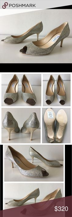 "JIMMY COO ISABEL GLITTER FABRIC KITTEN HEEL PUMPS JIMMY CHOO Isabel  -Condition: Brand New With Box + Dust Bag. -Size: EU Size 40.5 (Insoles measure 10 1/4""). -Model Name: Isabel. -Color: Champagne Glitter. -Textile upper. -Leather lining and sole. -Peep Toe Pumps. -Heel Height: Approx. 65mm (2.6 inches in height). -Retails for $595.00 -Made in Italy. -Same Day Shipping. Jimmy Choo Shoes Heels"