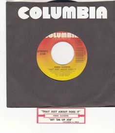 "Vern Gosdin / That Just About Does It / Set Em Up Joe / 7"" Vinyl 45 RPM Record & Jukebox Strip #Country #Music"