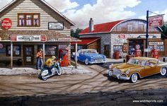 Vintage Motorcycles Muscle Ken Zylla Popple Creek - Another great nostalgic print from Ken Zylla--classic cars and motorcycles, a general store, a full service Standard Oil gas station. Vintage Bicycles, Vintage Motorcycles, Cars And Motorcycles, Classic Chevy Trucks, Classic Cars, Pin Up Girls, Cb 500, Pinup, Vintage Trends
