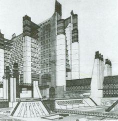 Conjunto de elementos que definen la idea de ciudad de Antonio Sant'Elia.