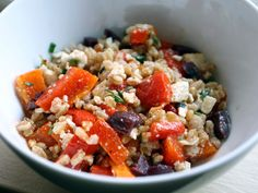 Farro & Roasted Pepper Salad --- I couldn't find farro so I used pearled barley instead and it was pretty yummy. I would make a double batch so you can eat for lunch all week!