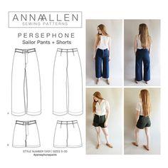 Die Persephone Hosen + Shorts Muster basiert auf Fotos von Männern, 1920er-Jahre - 40er US Navy Matrosenhose. Dies ist eine hohe Taille Hosen und shorts PDF-Schnittmuster. Diese Hosen sind einzigartig, da sie keine Seitennähte enthalten. Die Vorder- und Rückseite Hosenbeine sind aus einem