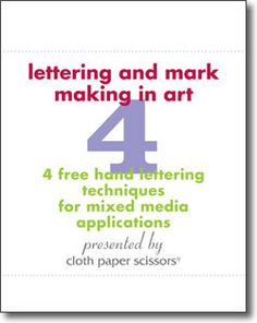 Hand Lettering and Mark Making: 4 Free Lettering Techniques for Mixed Media With this free eBook, you'll be armed with an incredible set of writing techniques and lettering styles that will have you doodling, drawing, and marking all your art! When you grab this free collection you'll meet our expert artists, and dive into each fun and unique technique. .. get your 4 free articles mark making and hand lettering techniques!