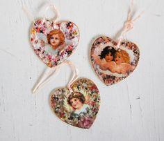 3 Vintage Porcelain HEARTS Romantic Valentine by redtruckdesigns