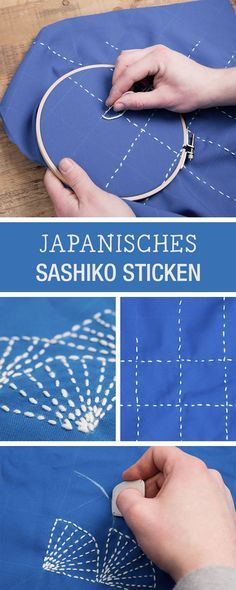 Japanisches Sashiko Muster sticken, kreative Idee / DIY tutorial:… – Do it Yourself Embroidery Tools, Sashiko Embroidery, Japanese Embroidery, Hand Embroidery Patterns, Embroidery Techniques, Embroidery Stitches, Machine Embroidery, Embroidery Designs, Embroidery Supplies