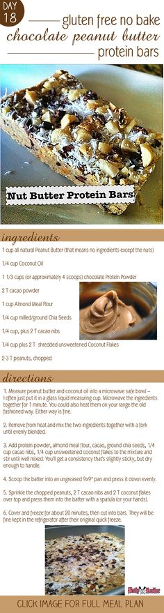Try this recipe for home made no bake chocolate peanut butter protein bars! Click image for full Meal Plan