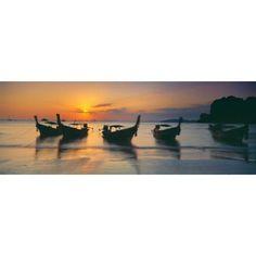 Fishing boats in the sea Railay Beach Krabi Krabi Province Thailand Canvas Art - Panoramic Images (27 x 9)