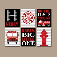 FIRE TRUCK Wall Art CANVAS or Prints Boy Nursery by TRMdesign