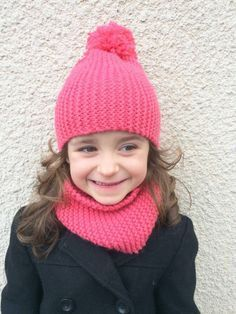 DIY - Tuto knit snood in garter stitch and hat with pompom (without diminution, super simple! Snood Knitting Pattern, Crochet Baby Hat Patterns, Crochet Baby Hats, Easy Crochet, Knitted Hats, Knit Crochet, Bonnet Crochet, Baby Winter Hats, Crochet Symbols