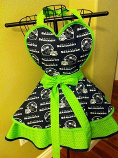 Go Hawks!    Seattle Seahawks Apron by SemperFabDesigns on Etsy, $40.00