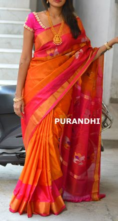 Uppada jamdani saree comes with Silver and Gold jari flowers weaving all over. For more details plea Uppada Pattu Sarees, Ikkat Silk Sarees, Bridal Silk Saree, Modern Saree, Indian Silk Sarees, Silk Saree Blouse Designs, Saree Models, Saree Look, Elegant Saree