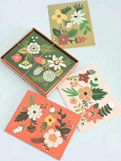 Folk cards. My kind of colour palette too.
