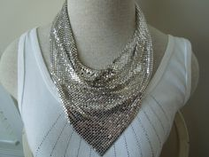 Vintage Whiting and Davis Scarf Necklace Silver Toned Famous