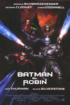 George Clooney, Arnold Schwarzenegger, Alicia Silverstone, Uma Thurman, and Chris O'Donnell in Batman & Robin Batman Et Robin 1997, Batman And Robin Movie, Batman Film, Batman Art, Gotham Batman, Alicia Silverstone, George Clooney, Arnold Schwarzenegger, Comic Movies