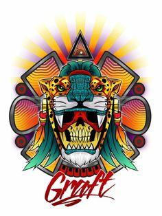 Indian Skull Tattoos, Knee Tattoo, Aztec Art, Spirit Animal, Blackwork, Art Quotes, Maya, Tatoos, Tatting