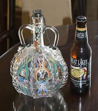 Antique Bohemian Enamel Art Glass Decanter Silver Ducat 1761 Netherlands Zeeland