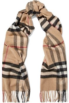 Burberry - Fringed Checked Cashmere Scarf - Camel - One size