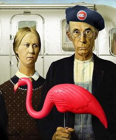 American Gothic - Airstream and Flamingo                                                                                                                                                                                 More