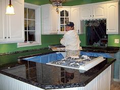 painted counter tops... I will be trying this on my crappy looking counter tops