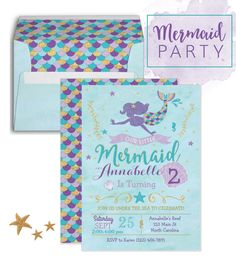 Planning a Mermaid Birthday Party? These purple, gold and teal mermaid invitations and envelopes are perfect for your under the sea mermaid birthday party! Mermaid Party Favors, Mermaid Theme Birthday, Mermaid Invitations, Little Mermaid Birthday, Little Mermaid Parties, Turtle Birthday, 2nd Birthday Invitations, 5th Birthday Party Ideas, Elmo Party
