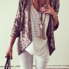 Sequin blazer | gltiters & sparkles | white