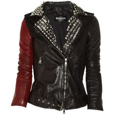 Balmain Stud-embellished painted leather jacket