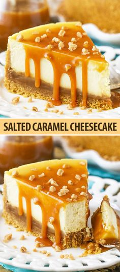 This Salted Caramel Cheesecake is the best you& ever have! The caramel sau. This Salted Caramel Cheesecake is the best you& ever have! The caramel sauce isn& simply drizzled on top, but it& actually layered inside the cheesecake as well! Cheesecake Caramel, Cheesecake Recipes, Homemade Cheesecake, Cheesecake Toppings, Turtle Cheesecake, Classic Cheesecake, Karamel Cheesecake, Summer Cheesecake, Plain Cheesecake