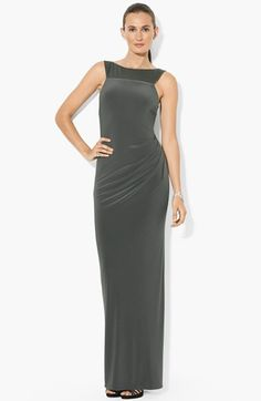 Lauren Ralph Lauren Side Ruched Jersey Gown available at #Nordstrom