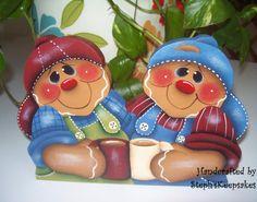 Handpainted Gingerbread Boys Shelf Sitter por stephskeepsakes, $12.95