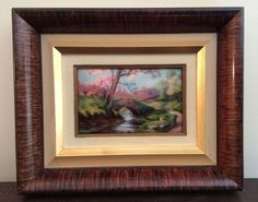 "Beautiful and colorful Limoges Enamel painting ""Printemps, Le vieux Foret"" by Camille Fauré"