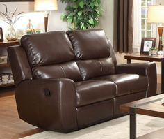 HE-8529BRW-2 GANNET COLLECTION LOVE SEAT, DUAL R Designed for placement in a multitude of home decors, the Gannet Collection will fit perfectly in your living space. This bonded leather match seating offering is presented in either black or brown. The dual reclining ends of the sofa and love seat, as well as the coordinating reclining chair, feature a slightly curved arm with manual easy pull recline mechanism. Finish: Brown Bonded Leather Match  Dimensions: 60 x 36.5 x 40H BOX DIM: 60.5…