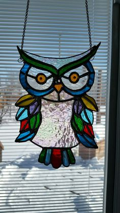 my multicolored owl Stained Glass Paint, Stained Glass Birds, Stained Glass Suncatchers, Stained Glass Designs, Stained Glass Projects, Stained Glass Patterns, Stained Glass Windows, Mosaic Glass, Glass Art