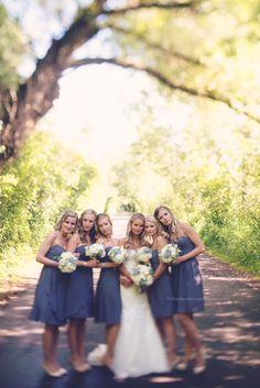 Grey Bridesmaids dresses Beautiful Bridesmaids Blue Dandelion Photography