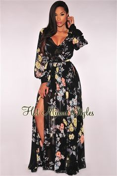 Black Floral Print Faux Wrap Slit Maxi Dress