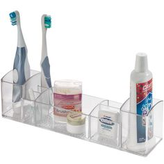 Keep medicine cosmetics toiletries and more neat organized and easily accessible in your medicine cabinet or right on your bathroom countertop with this Acrylic Vanity Organizer by InterDesign. This medicine organizer features eight compartments of varying sizes to accommodate a wide variety of toiletries from narrow i
