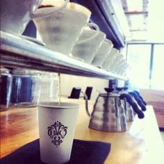 A pour over at the Espresso Bar. Pour over station made from galvanized pluming metal