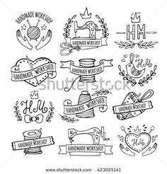 Set of hand drawn logos for sewing workshop, handmade workshop, shop for crafts, products for sewing, tailor shop Handmade workshop logo vintage set.