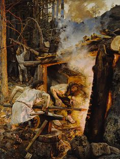 The Forging of the Sampo. Painting by Akseli Gallen-Kallela, depicting a scene from Kalevala, a Finnish epic poem. Smith Ilmarinen is forging the magical mill called Sampo, a centerpiece in many of Kalevala's stories. Scandinavian Paintings, Scandinavian Art, Helene Schjerfbeck, Asgard, Romanticism, Gods And Goddesses, Art Reproductions, Blacksmithing, Folklore