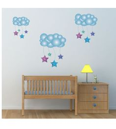 Stars and Clouds Wall Decals. Cute for a nursery, child's room, playroom, classroom, or daycare.