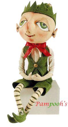 home made cloth folk art animals | Joe Spencer Bartholomew Elf Christmas Folk Art Decor | eBay