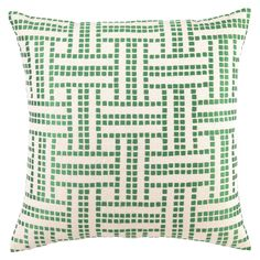 DL Rhein Basket Weave Green Apple Embroidered Pillow