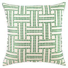 DL Rhein Basket Weave Green Apple Embroidered Pillow