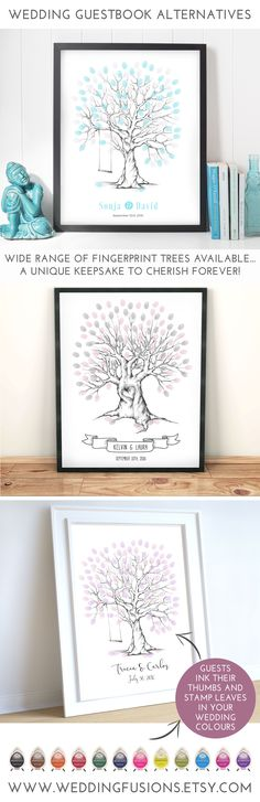Fingerprint trees, beautiful keepsakes for your wedding day and an ideal wedding guestbook alternative. Sent as DIY Printable after personalisation - perfect for brides on a budget!