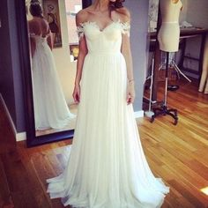 Beach Off Shoulder Lace Appliqued Chiffon Bohemian Wedding Dresses Bridal Gowns, BG51519
