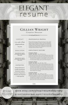 Resume Tips : Elegant Resume Design that organizes your information so that it is eye-catching Microsoft Word, Cv Template, Resume Templates, Templates Free, Resume Writing, Writing Tips, Resume Words, Cv Curriculum Vitae, Job Interview Tips