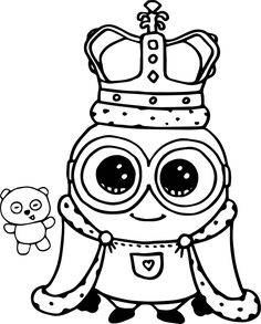 Minions coloring pages peace minion ~ Cute Bob And Bear Minions Coloring Page | Coloring sheets ...