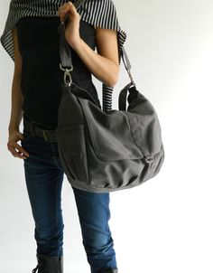 Gray diaper bag.