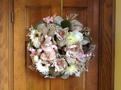 Pastel Bunny Burlap and Mesh Wreath by HertasWreaths on Etsy